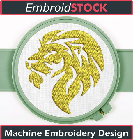 Golden Lion Head Embroidery Design - Embroidstock