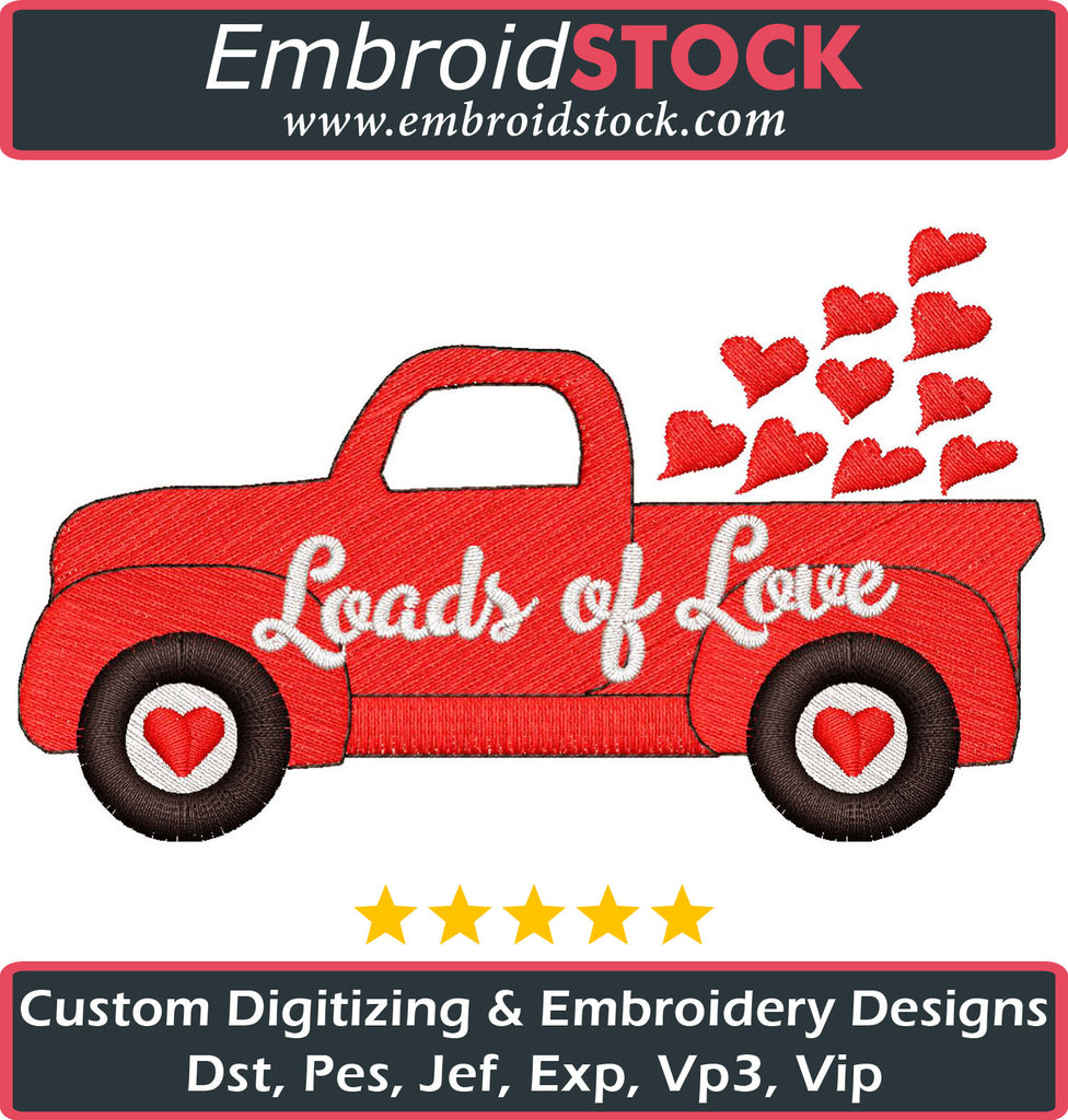 Loads Of Love Embroidery Design - Embroidstock