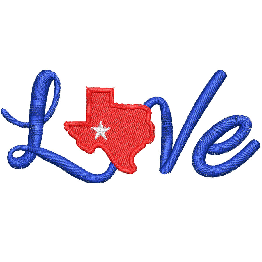 Love Texas Embroidery Design
