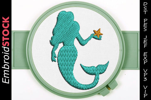 Mermaid Embroidery Design - Embroidstock