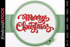 Merry Christmas Embroidery Design - Embroidstock