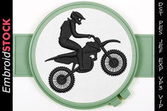 Motorcycle Racing Dirt Bike Embroidery Design - Embroidstock