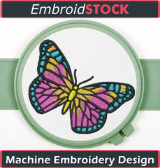 Multi-Colored Butterfly Embroidery Design - Embroidstock