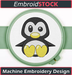 Cute Penguin Embroidery Design - Embroidstock