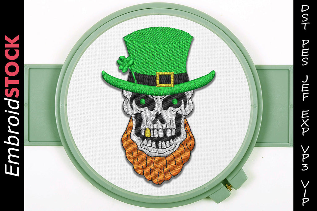 St. Patrick's Skull Embroidery Design - Embroidstock