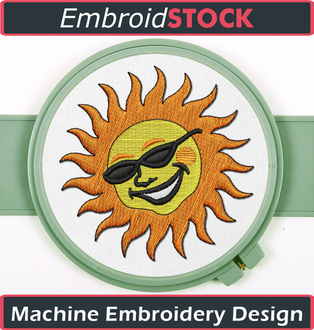 Sun with shades - Embroidstock