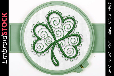 Clover Swirls Embroidery Design - Embroidstock