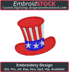 Patriotic American Top Hat Embroidery Design - Embroidstock