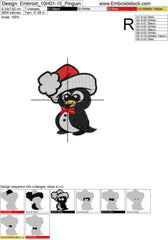 Christmas Little Penguin Embroidery Design