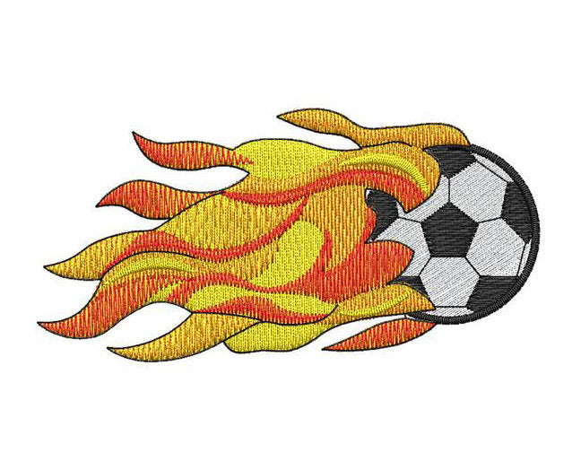 Soccer Ball with Flames - Embroidstock