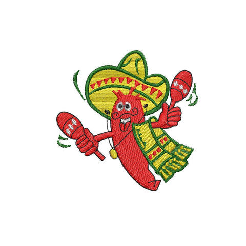 Mexican Chile Embroidery Design - Embroidstock