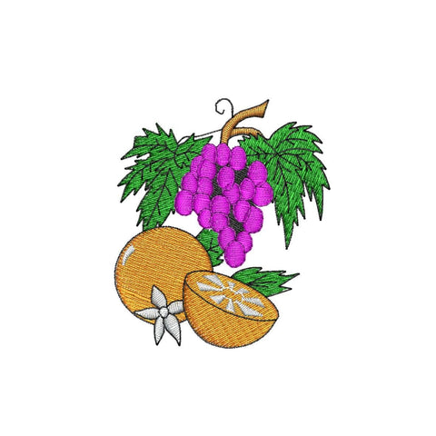 Grape and Orange Produce Embroidery - Embroidstock