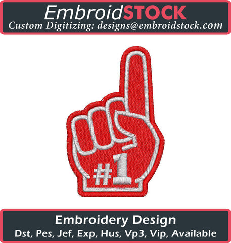 Number One Hand Embroidery Design - Embroidstock