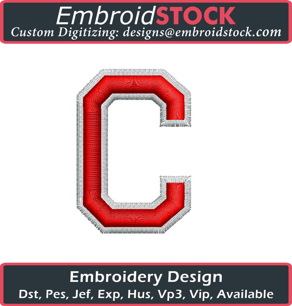 Letter C Puff Embroidery Design - Embroidstock