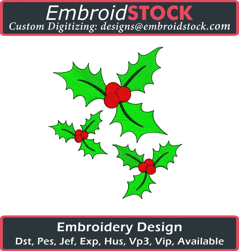 Christmas Berries Embroidery Design - Embroidstock