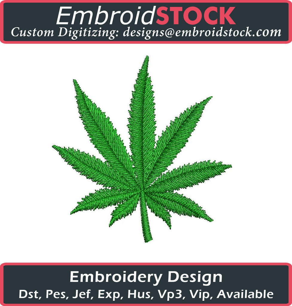 Marijuana Leaf Embroidery Design - Embroidstock