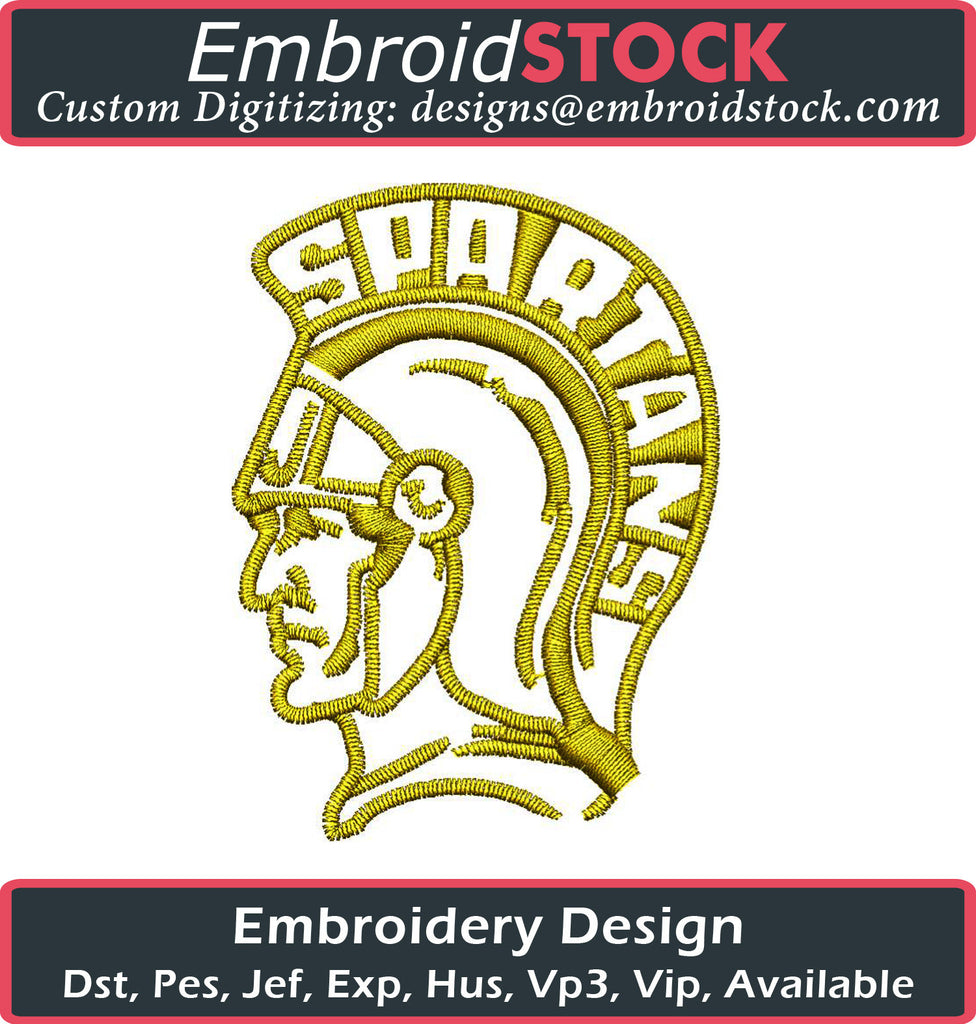 Spartan Head Embroidery Design - Embroidstock