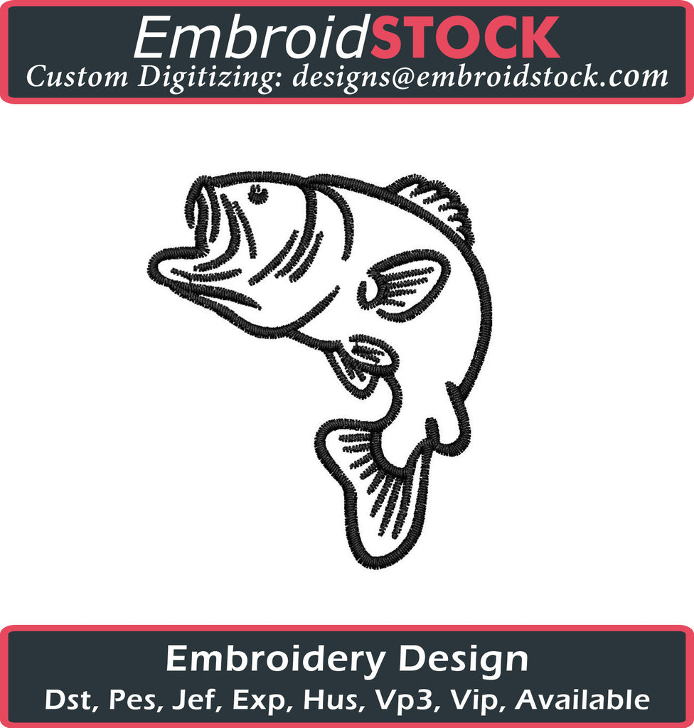 Bass Fish Embroidery Design - Embroidstock