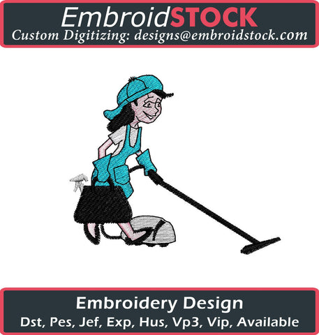 Cleaning Lady Embroidery Design - Embroidstock