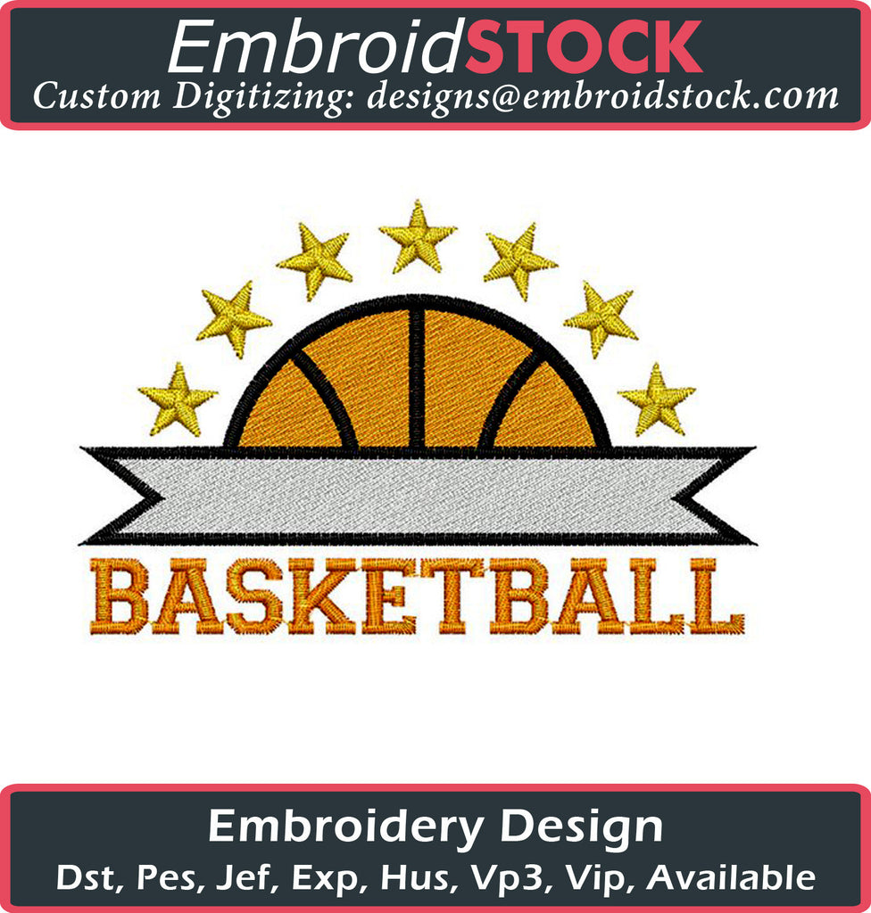 Basketball Logo Embroidery Design - Embroidstock
