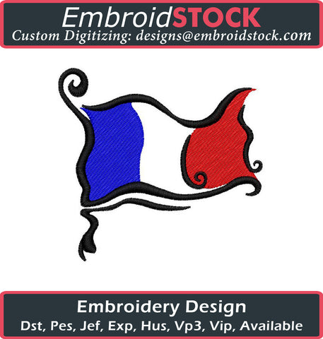 French Flag Embroidery Design - Embroidstock