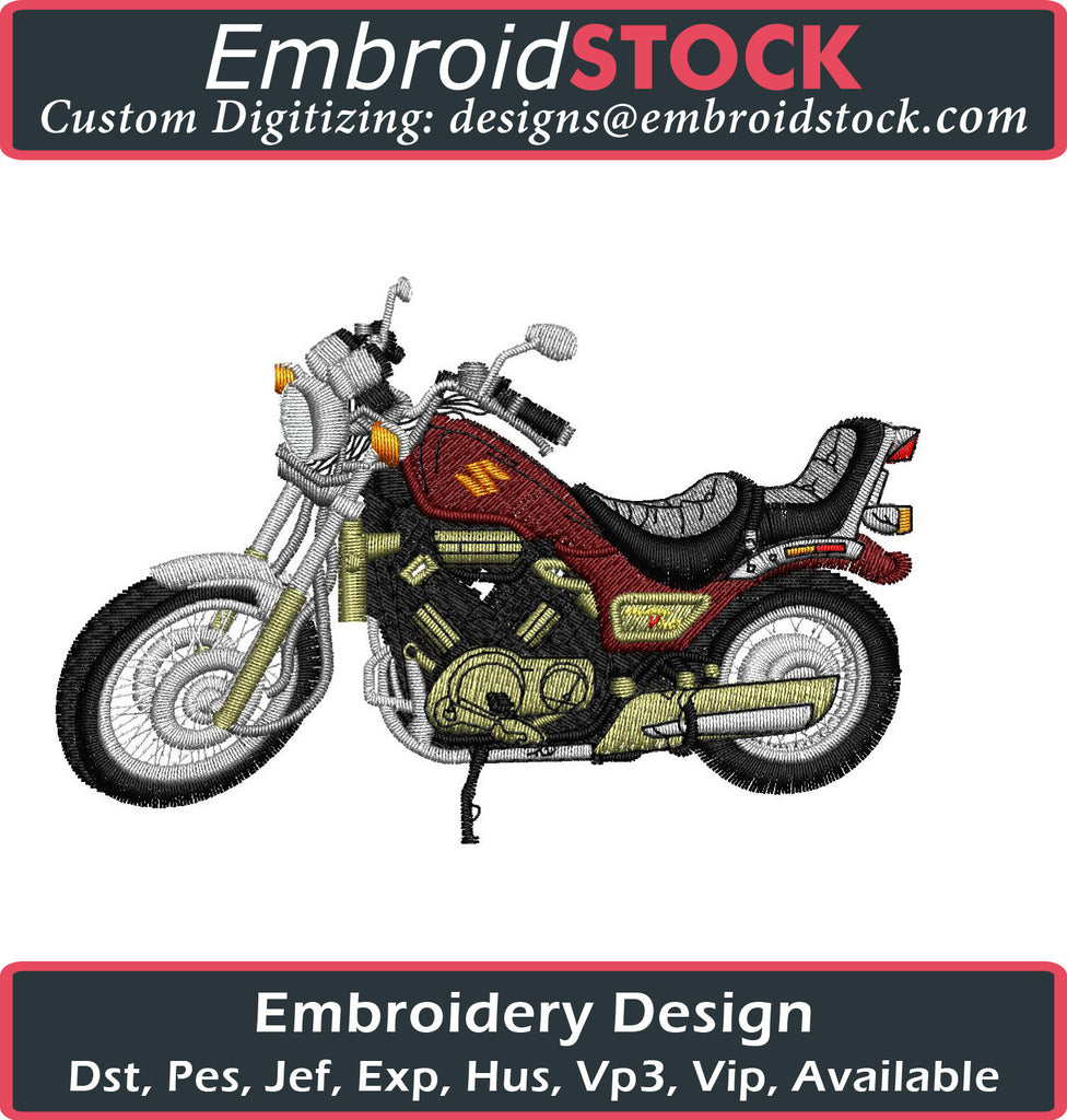 Motorcycle Embroidery Design - Embroidstock