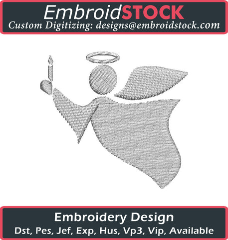 Angel with Candle Embroidery Design - Embroidstock