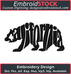 Cali Bear Embroidery Design - Embroidstock