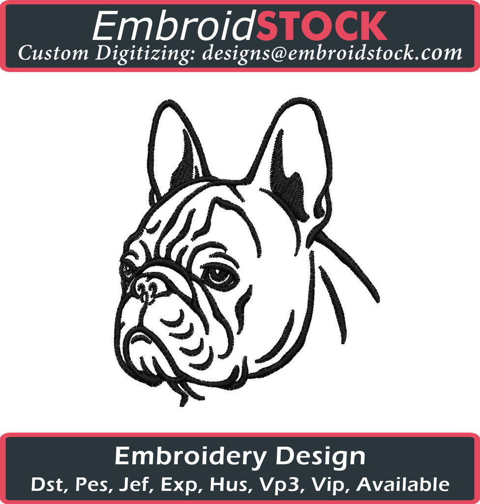French Bulldog Embroidery Design - Embroidstock