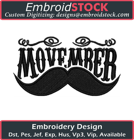 Movember Embroidery Design - Embroidstock
