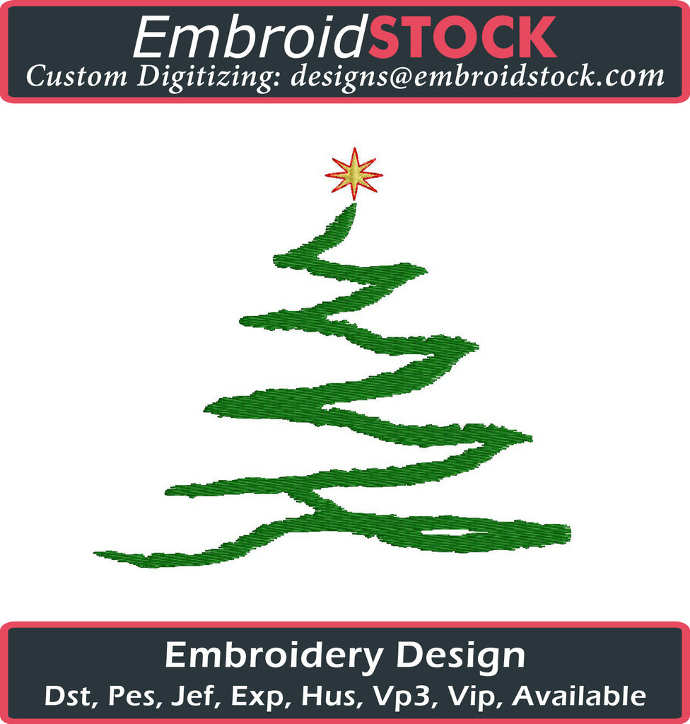 Modern Christmas Tree Embroidery Design - Embroidstock