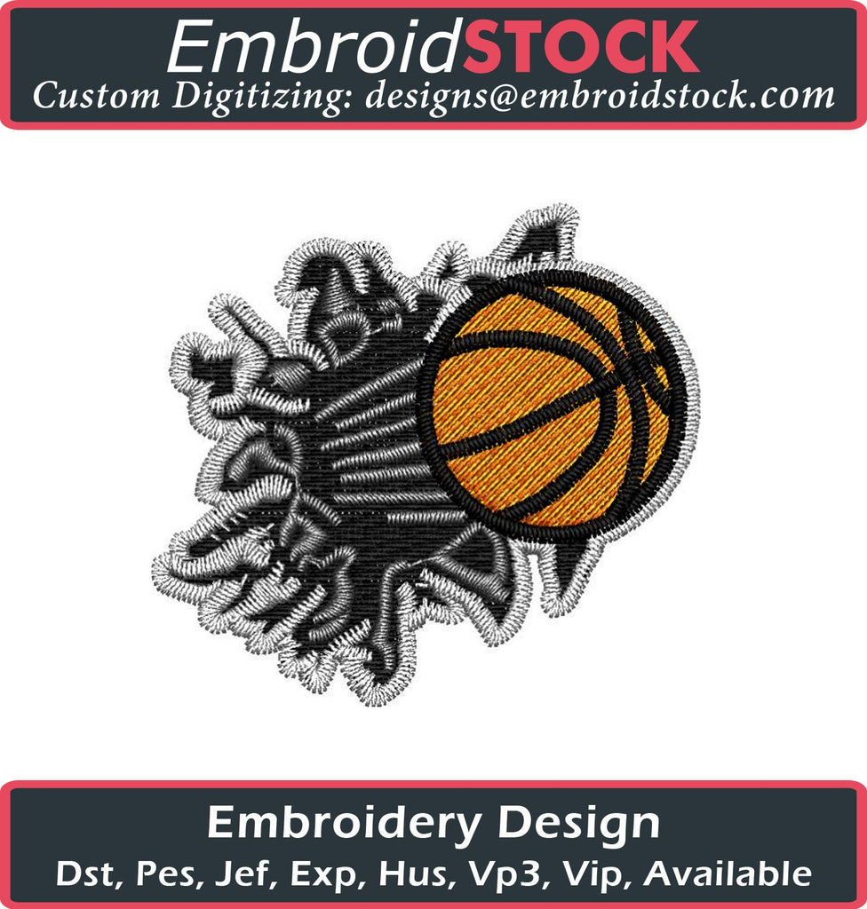 Basketball Breaking Wall Embroidery Design - Embroidstock