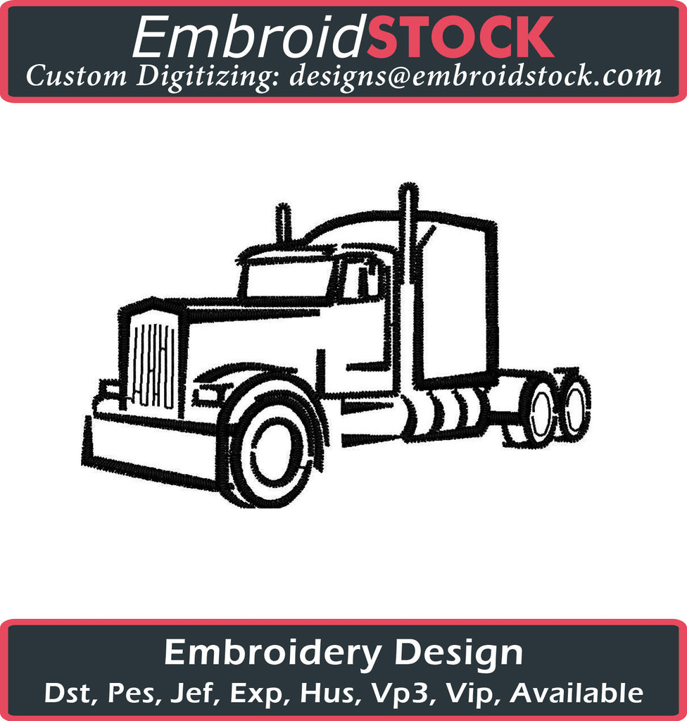 Truck 1 color Embroidery Design - Embroidstock