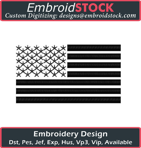 3D PUFF Simple U.S Flag - Embroidstock
