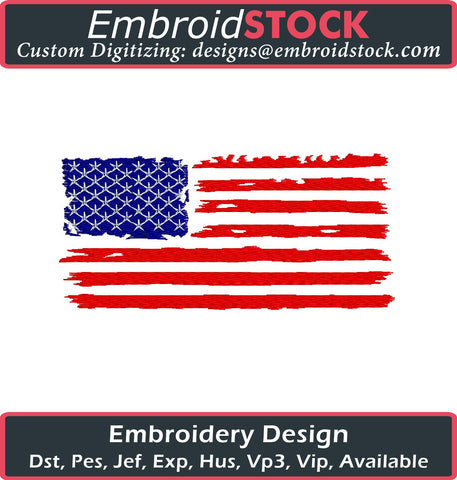 American Flag Embroidery Design - Embroidstock