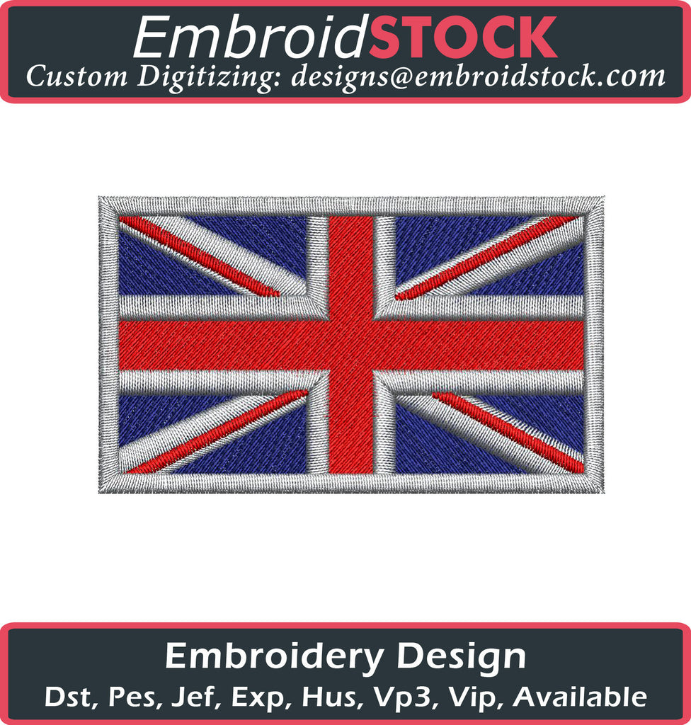 Union Jack UK Flag Embroidery Design - Embroidstock