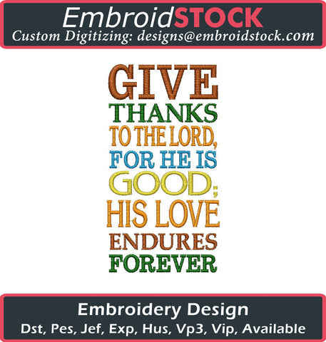 Give Thanks to the Lord Embroidery Design - Embroidstock