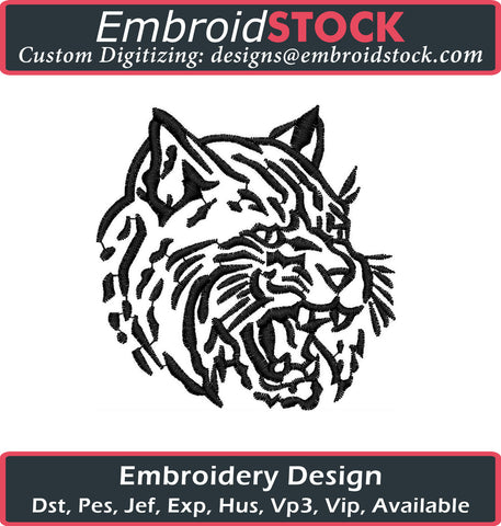 Fierce Bob Cat Embroidery Design - Embroidstock