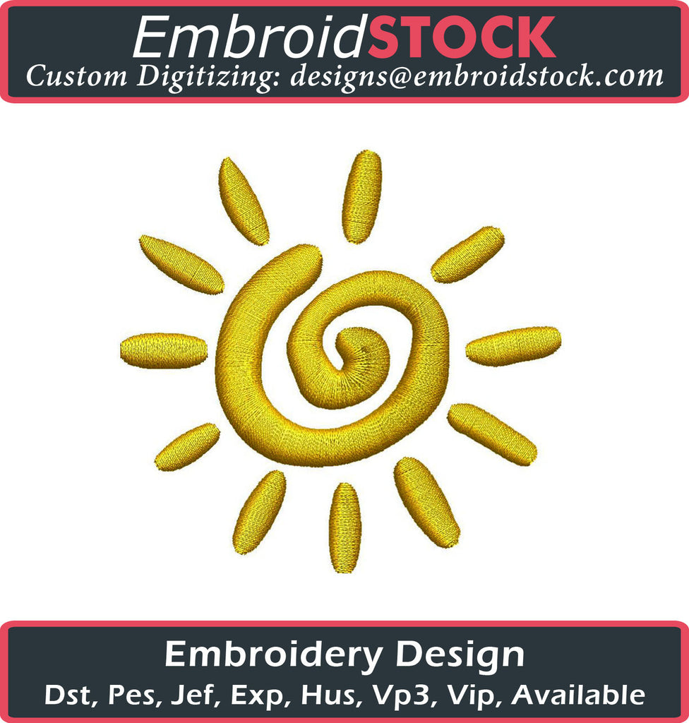 Bright Spiral Sun Embroidery Design - Embroidstock
