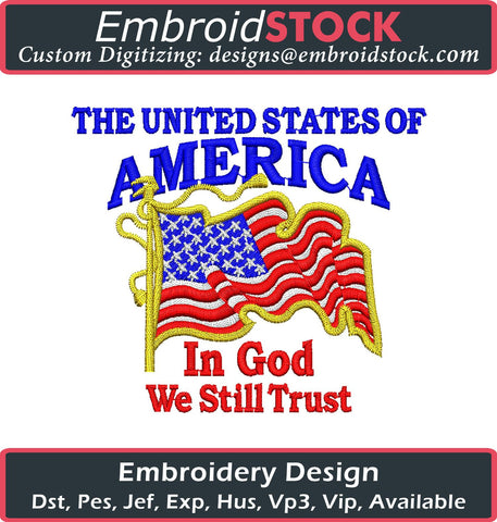 In God We Trust Embroidery Design - Embroidstock