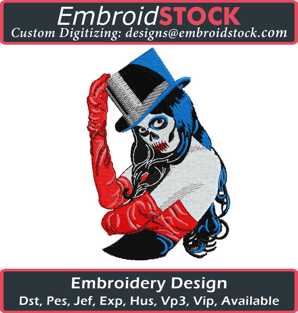 Sugar Skull Dead Lady - Embroidstock