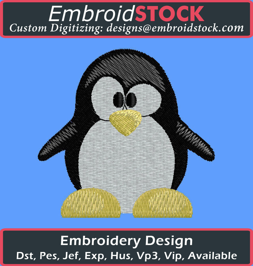 Penguin Cartoon - Embroidstock