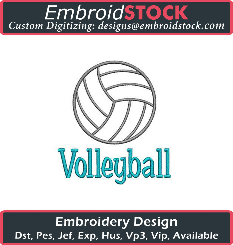 Volleyball Embroidery Design - Embroidstock