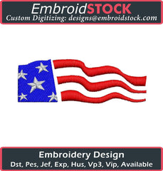 Wavy American Flag - Embroidstock