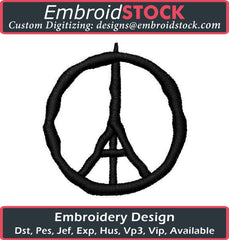 Eiffel Tower Peace Sign Embroidery Design - Embroidstock