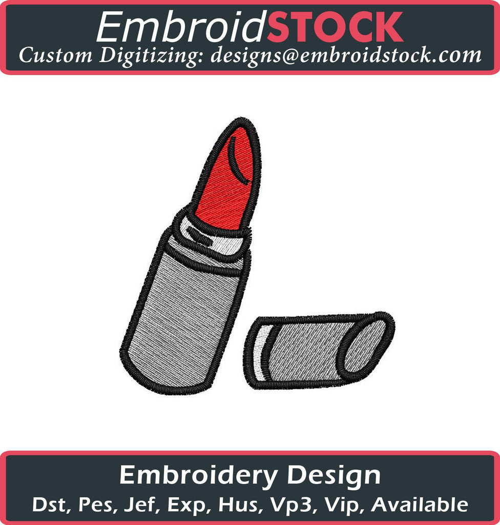 Lipstick Embroidery Design - Embroidstock