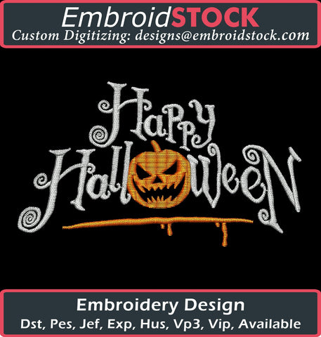 Happy Halloween Embroidery Design - Embroidstock