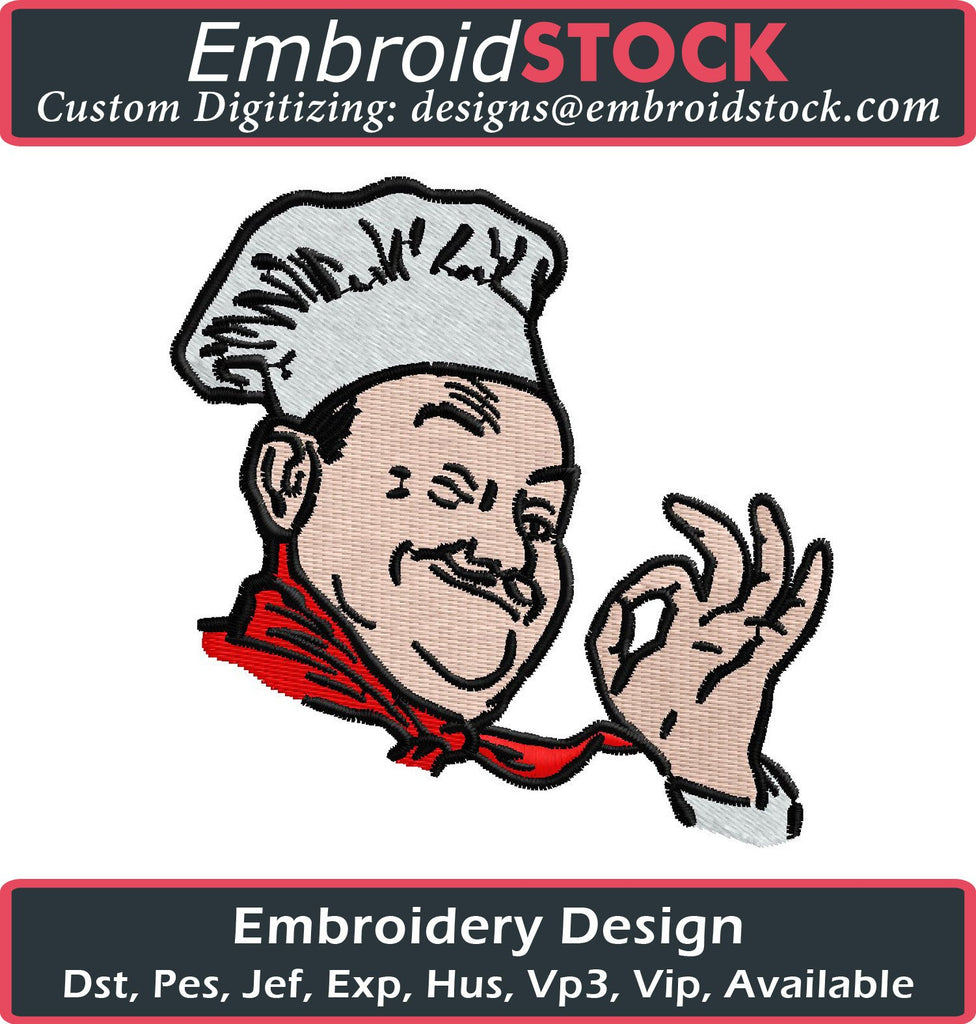 Chef Embroidery Design - Embroidstock