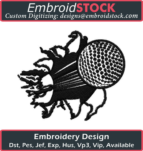Golfball Breaking Wall Embroidery Design - Embroidstock