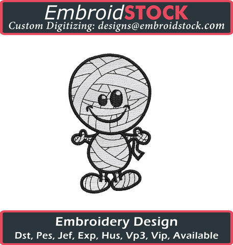 Cute Mummy Embroidery Design - Embroidstock